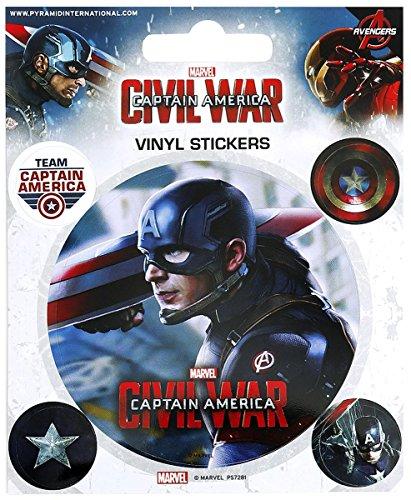 Pyramid International Bürgerkrieg (Captain America) Vinyl Aufkleber, Papier, Mehrfarbig, 10x 12,5x 1,3cm