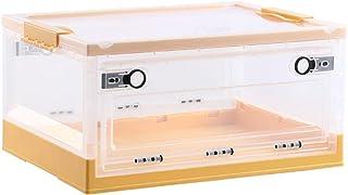 ZQCM Boîte De Rangement Pliante à Double Porte, Transparente avec Couvercle Boîte De Rangement Boîte De Rangement pour Vêt...