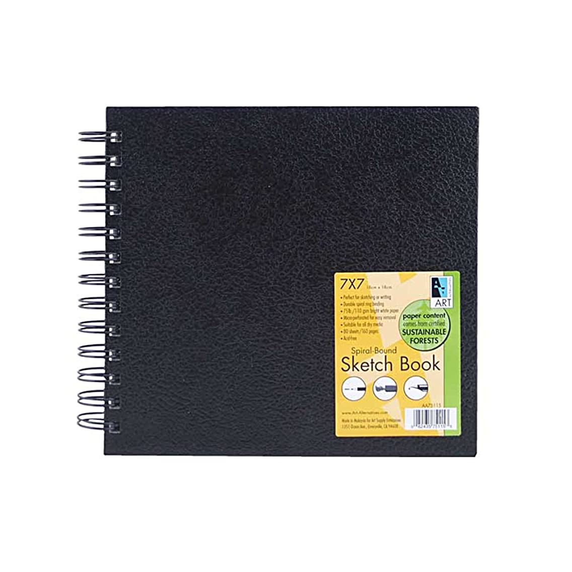 Art Alternatives Black Wirebound Sketch Book,7x7 in