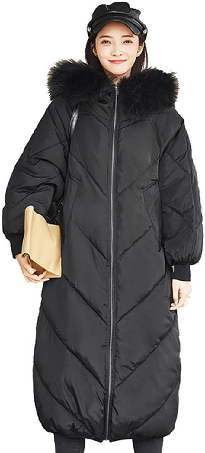 HOIJHD Winter Duck Down Parkas Female Big Fur Collar Padded Thicken Warm Outwear Coat