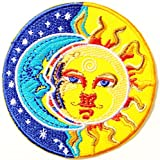 Sun and Moon Star Sunshine Good Dream Dreamtime Ying Yang Happy Hippie Retro Peace Tatoo Lady Rider Biker Tatoo Kid Jacket T-shirt Patch Sew Iron on Embroidered Applique Sign Badge Costume