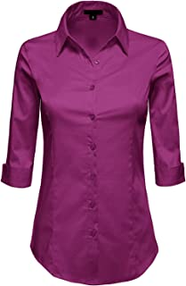 30add13c3 MAYSIX APPAREL 3/4 Sleeve Stretchy Button Down Collar Office Formal Casual Shirt  Blouse for
