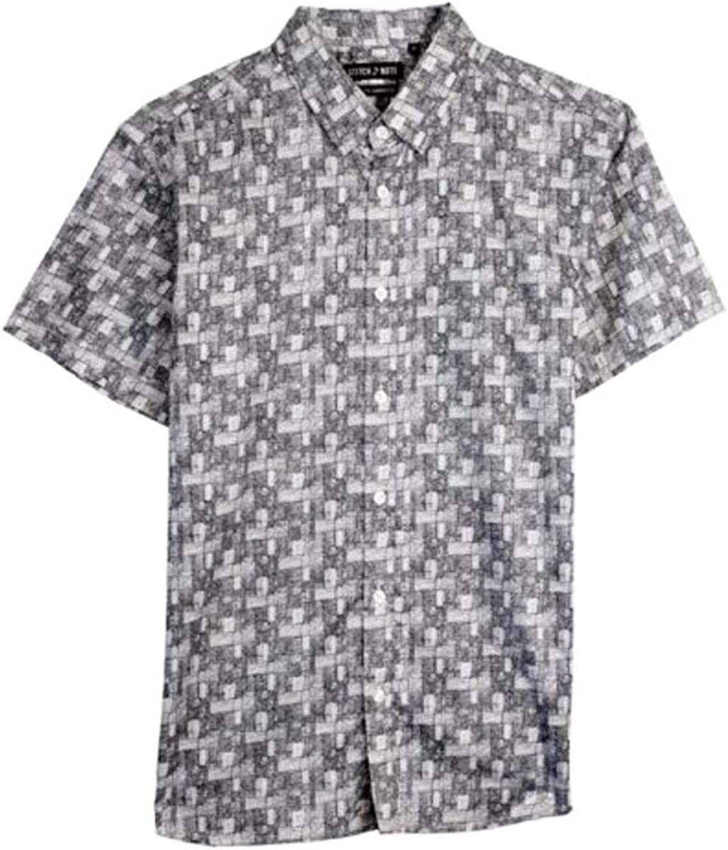 Stitch Note Square Black Print Short Sleeve Button Down Casual Men's Shirt