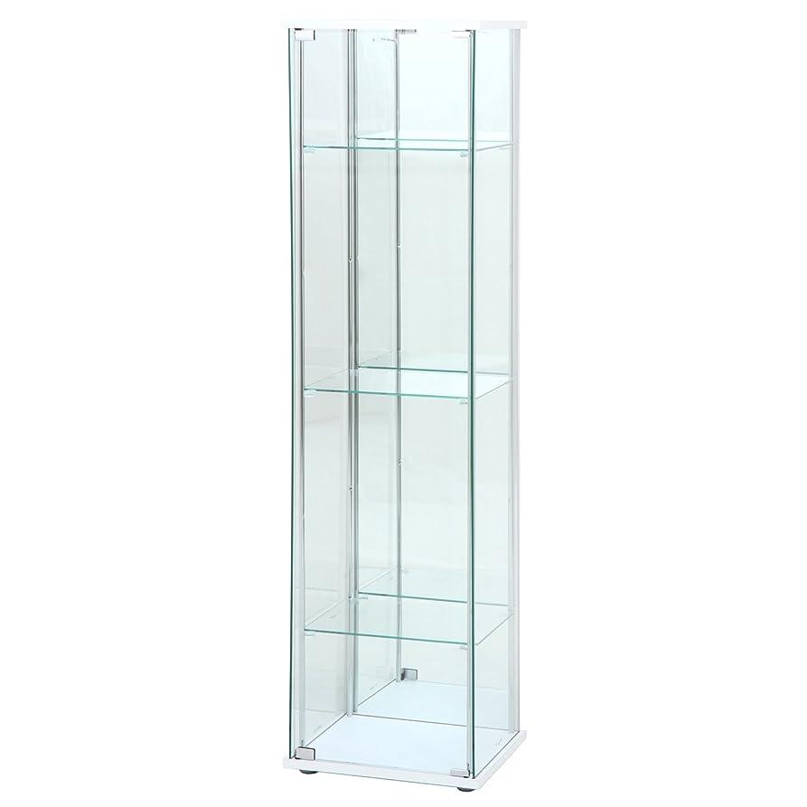 疎外ペレットキャプチャー不二貿易 ガラスコレクションケース 4段 幅42.5?高さ160cm 背面ミラー付き ホワイト 97294