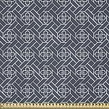 ABAKUHAUS Japonés Tela por Metro, Geométrica Motivo Floral, Satén para Textiles del Hogar y Manualidades, 1M (148x100cm), Gris Carbón Oscuro Azul Blanco