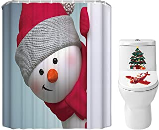 Merry Christmas Shower Curtain Set for Bathroom- Sweet Snowman Family Greeting, Winter Holiday Polyester Fabric Decoration with Hooks and Toilet Cover Sticker, Xmas Decor 72x72 (Red)