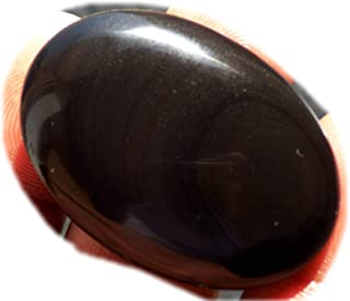 RASIO Cabujón de obsidiana arco iris negro, piedra preciosa semipreciosa natural, forma de pera 48 quilates 41x27x6 mm, K-...