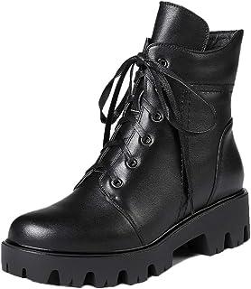 oferta especial botas De Mujer con Cordones Cordones Cordones Y Cremallera Martin Botines con Botines De Tacón Bajo botas De Tacón De Cuero Genuino Bote Corto Zapatos Militares,negro-Glossy-38  clásico atemporal