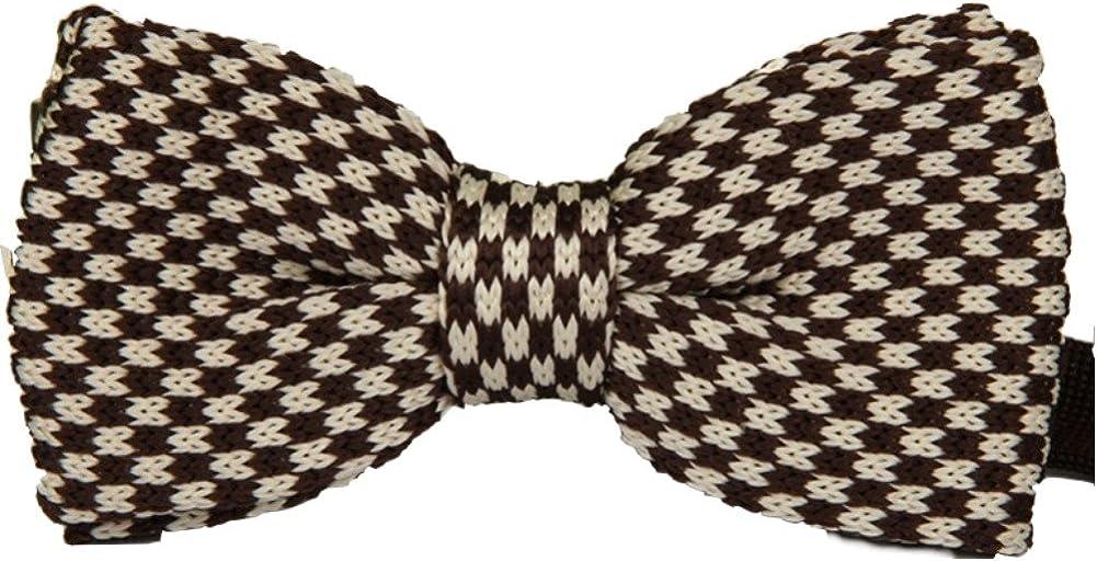 Enwis Men's Bowtie Bow Tie Double Layer Knit Knitted Tied Sienna Beige Pattern