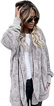 Forthery Women's Warm Fleece Sherpa Jacket Hooded Coat with Pocket Winter Outwear (US M = Tag L, Gray)