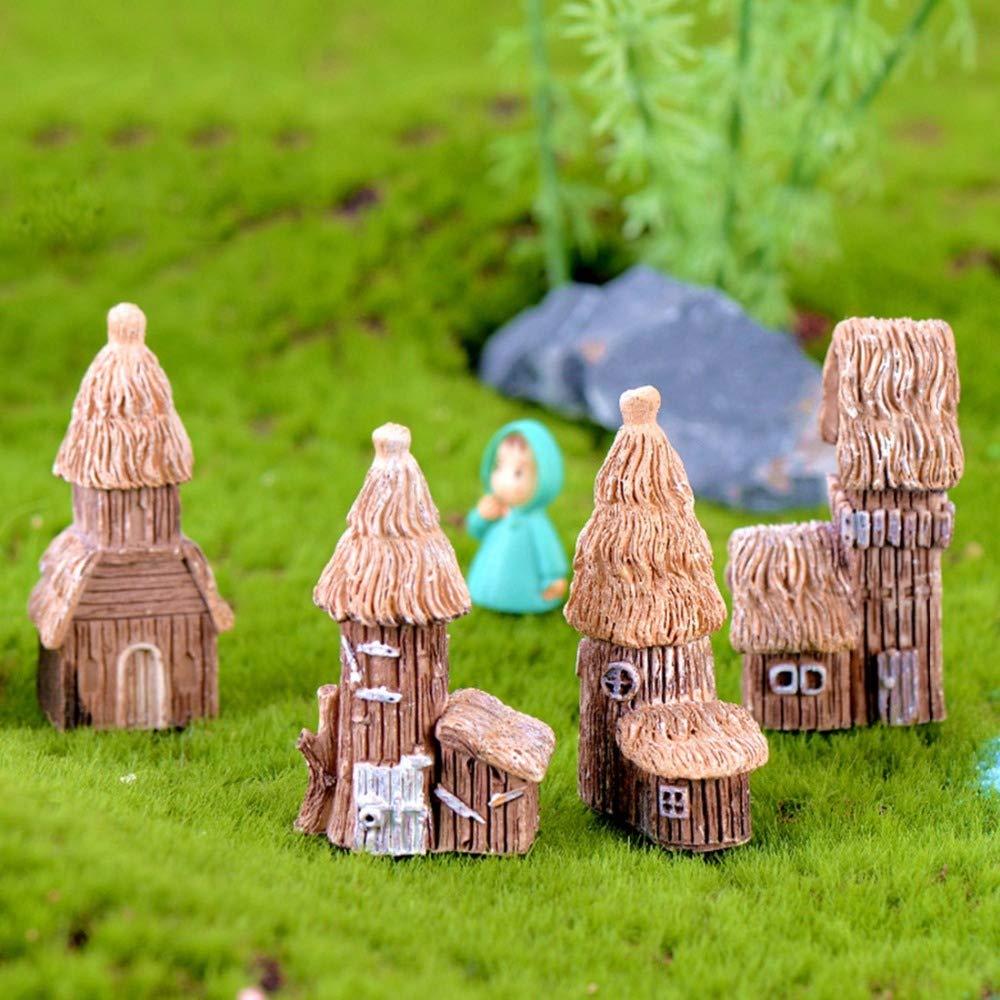 KWOSJYAL 4 Unids/Set Mini Resina Casa De Madera Miniatura Figuras Decorativas Micro Paisaje Decoración Hadas Jardín Bonsai Adornos Combinación Aleatoria: Amazon.es: Jardín