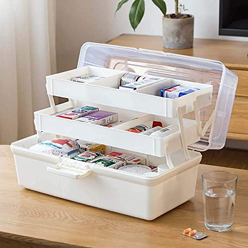 LATKALO First Aid Box 3 Layers Portable Medicine Storage Box Organizer Travel Stationery Makeup Cosmetic Medicine Auto Repairing Organizer Kit Box Family Emergency Kit Multi Color