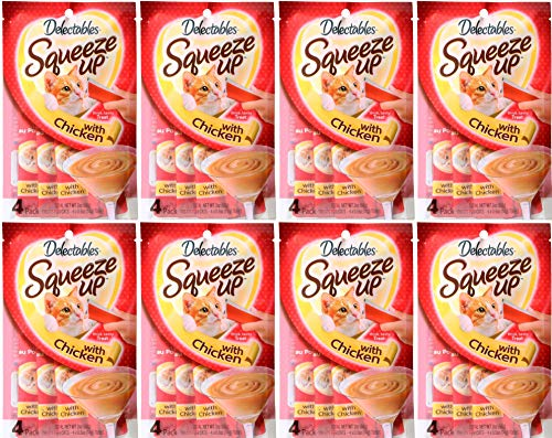 Delectables Squeeze Up Lickable Wet Cat Treats Chicken -32 Tubes (8 x 4 packs)