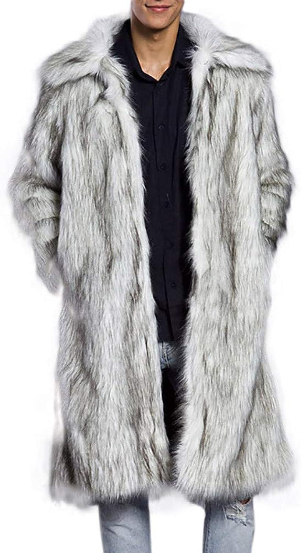 ALIKEEY Herren Parka Warmer Dicker Mantel Jacke Faux Fur Outwear Strickjacke Pelzimitat