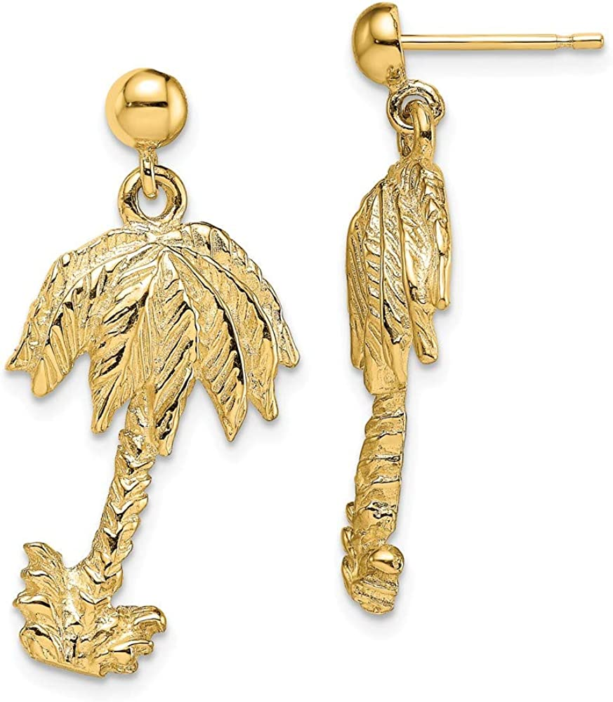 14k Yellow Gold Palm Tree Post Stud Drop Dangle Chandelier Earrings Outdoor Nature Fine Jewelry For Women Gifts For Her