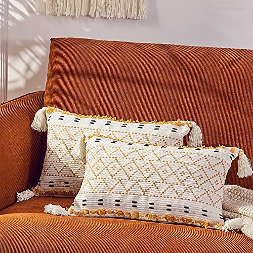 Juego de 2 Funda de Cojine 30 x 50 cm, Funda de Almohada Decorativa de algodón con borlas, Bohemios Fundas para Cojines de Sofa para Salón Habitación Terraza