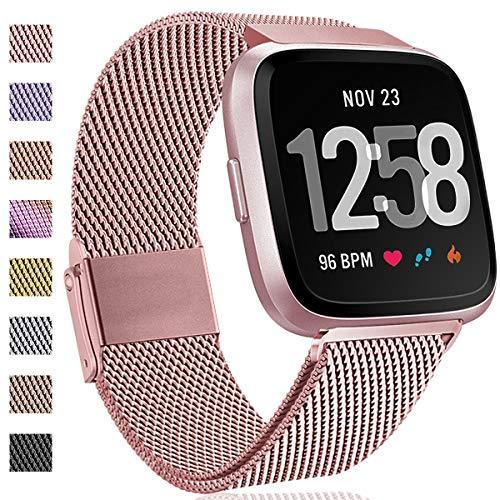 Hamile Kompatibel für Fitbit Versa Armband/Fitbit Versa 2, Metall Ersatzarmbänder mit Starkem Magnetverschluss für Fitbit Versa/Versa 2/Versa Lite/SE Smartwatch, Klein Groß (# Roségold, S)