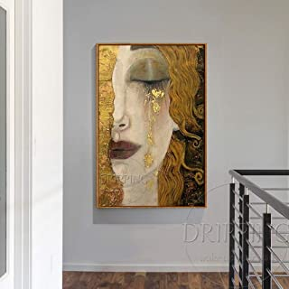 SoulSpaze Top Artist Pure Hand-Painted Luxury Art Woman in Golden Tear Oil Painting Reproduction Gustav Klimt Oil Painting (100x150CM x1)