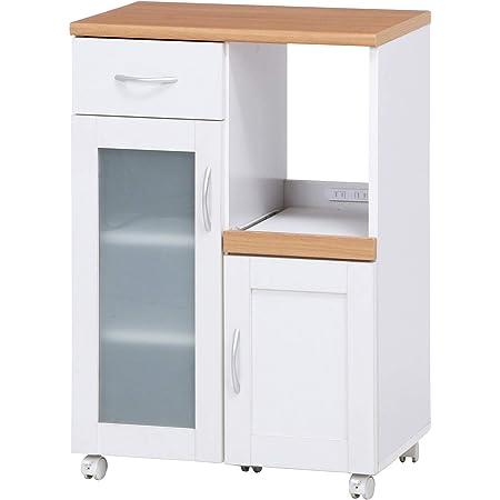 不二貿易 キッチン収納 キッチンカウンター 幅60cm ホワイト スライド棚 コンセント付き サージュ 99521