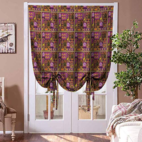 Window Blind Oriental Window Blind Fabric Curtain Drapery Illustration with Mask Giraffe and Geometric Shapes Rhombuses and Circles Home Fashion Window Treatment Rod Pocket Panel, 48' W x 72' L