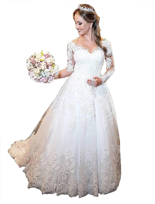 Amazon Com Fanciest Women S Lace Wedding Dresses Long Sleeve Ball Gown Wedding Dress White Clothing