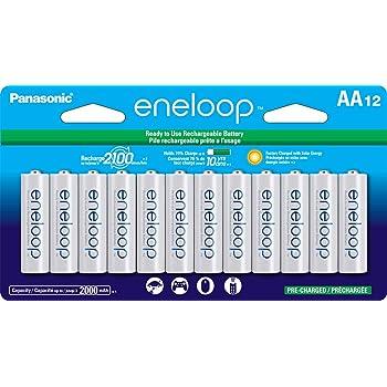 Panasonic eneloop AA 2100nuevo ciclo Ni-MH Pre-Charged baterías recargables, AA, Paquete de 12 unidades