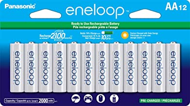 Panasonic BK-3MCCA12FA eneloop AA 2100 Cycle Ni-MH Pre-Charged Rechargeable Batteries, 12 Pack