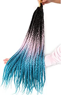 3Packs Ombre Box Braids Crochet Hair Extensions 22inches 10Stands Synthetic Crochet Braids Hair Extensions Kanekalon Box Braids Crochet Braiding Hair(Black Pink Green)