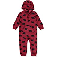 Baby Boys' One Piece Fleece Jumpsuit Red Bear, 18 Months