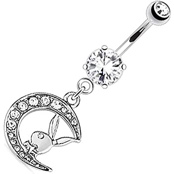 Dynamique Playboy Bunny with Paved Gemmed Moon Dangle Navel Ring