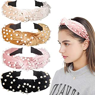 4 Pack Velvet Wide Headbands Knot Turban Hairband Vintage...