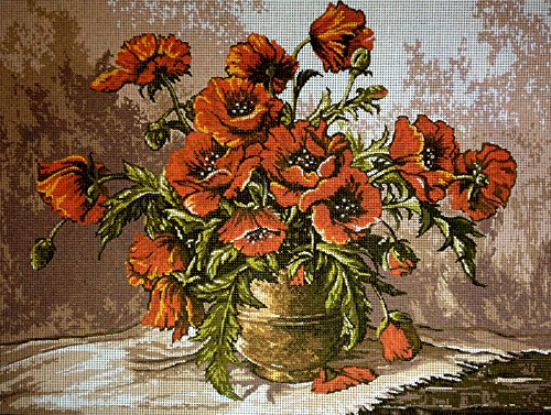 Hudemas Gobelin Stickbild Stickpackung Vase mit Mohnblumen halber Kreuzstich 40x30cm. inkl. Sticktwist cod.146