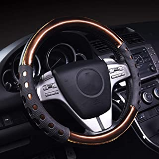 QLL Car Steering Wheel Cover Leather D-Type Grips First Layer Leather Color Matching Interior Products 38cm 5 Colors Optional,Orange