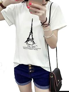 [アズルテ] 半袖 Tシャツ レディースファッション エッフェル塔 パリ ロゴ プリント 大きいサイズ おもしろ tシャツ
