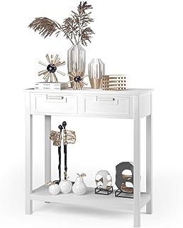 Costway Table de Console avec 2 Tiroirs Table d'Appoint Rectangulaire avec Pieds en Bois d'Acacia Meuble d'Entrée pour Sal...