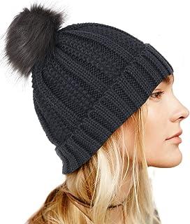 بوهيند قبعة صغيرة محبوكة للشتاء مع فرو صناعي بوم أسود دافئ قبعة صغيرة لينة تمتد كابل اكسسوارات الشعر للنساء والفتيات