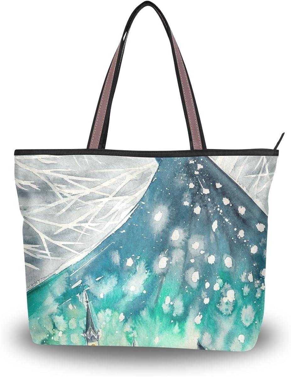 JSTEL Women Large Tote Top Handle Shoulder Bags Watercolors Abstract Peacock Patern Ladies Handbag