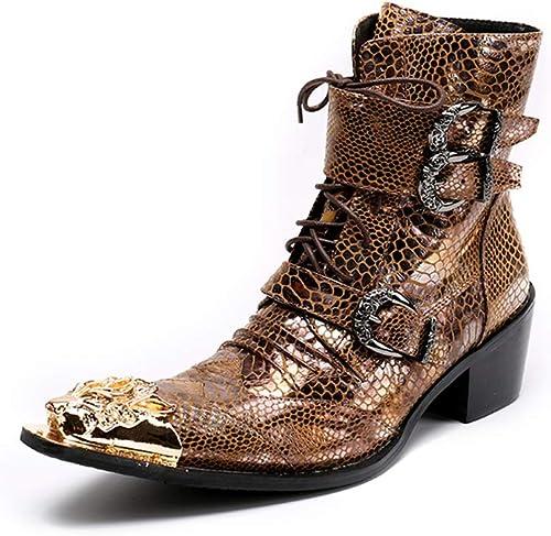 ZPL Stiefel Herren Stiefeletten Cowboy Stiefel Schnüren Lederschuhe Klassisch Gold Abend Party Kleiden