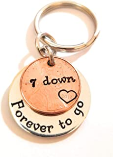 7 Year 7th Anniversary Lucky 2014 Copper Penny Down Forever To Go Coin Key Chain