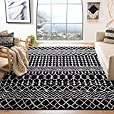 Safavieh Tulum Collection TUL270Z Moroccan Boho Distressed Non-Shedding Stain Resistant Living Room Bedroom Area Rug, 9' x 12', Black / Ivory