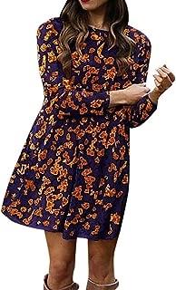 Women's Rockabilly Floral Print Mini Dress Long Sleeve Casual Loose Blouse Dress