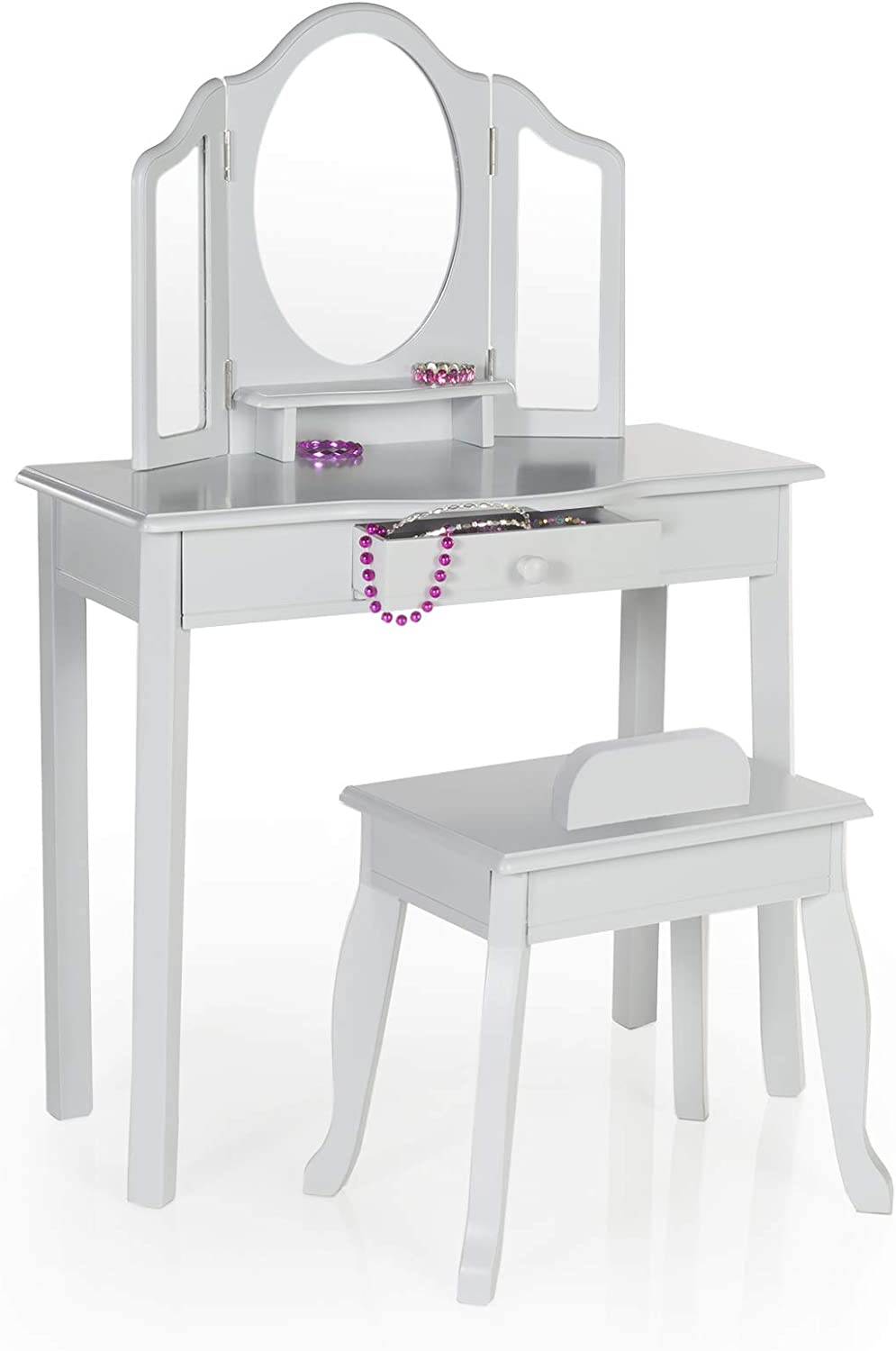 Many popular brands Guidecraft Vanity and Stool – Gray: Kids' Wooden Table Chair Popular products