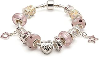 Liberty Charms Mummy 'Pink Me Up' Silver Plated Charm/Bead Bracelet