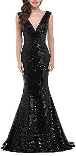 20eccb2a8f2 RONGKIM Women s V Neck Sequins Evening Dresses Mermaid Formal Party Gown  Long Bridesmaid Dresses