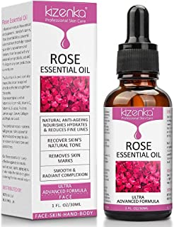 kizenka Huile de Rose Essentielle, sérum vitamine c Égayez les rides anti-âge pour l'aromathérapie Relaxation, thérapie de...