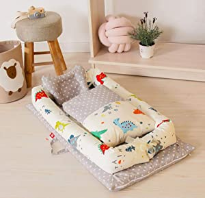 Lhh Portable Baby Bassinet Co-Sleeping Cribs Lounger Cushion 100  Cotton Breathable and Hypoallergenic for Newborn 0-24 Months  90 15cm  B