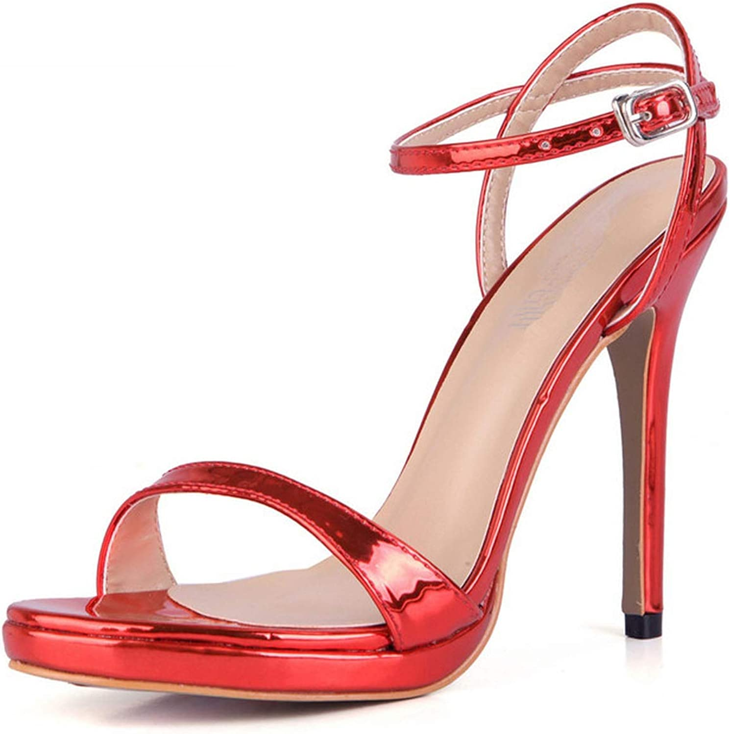 Summer Sexy Sandals 12 cm High Heels Ankle Strap shoes Woman Patent Leather Pumps