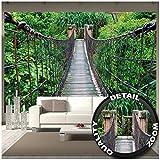Papier peint de Pont suspendu décoration de peinture murale de la jungle nature du paysage en aventure Pont de forêt pont de bois de la forêt tropicale | murale photo mur deco chez GREAT ART (336 x 238 cm)