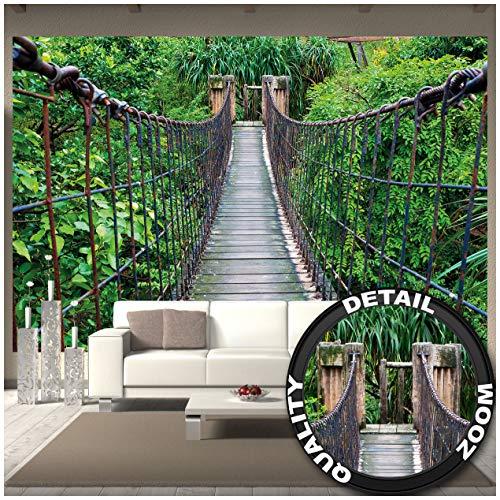 Great Art Hangbrug, wanddecoratie, jungle, landschap, natuur, adventure, brug, regenwoud, struiken, tropische oerwoud, houten brug, fotobehang, fotobehang, fotoposter, wanddecoratie