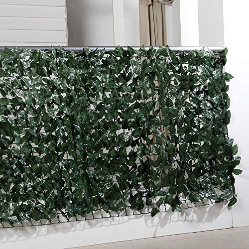 Balkon-Sichtschutzhecke, Sichtschutz Balkon Efeu Blätter, künstliche Hecke, Kunststoff, 300 x 100 cm